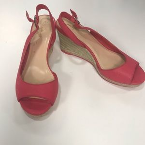 Cole Haan Pink Open Toe Slingback Wedges, 7B